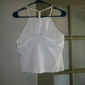 White tank top w/ braided T-back, XL, NWoT